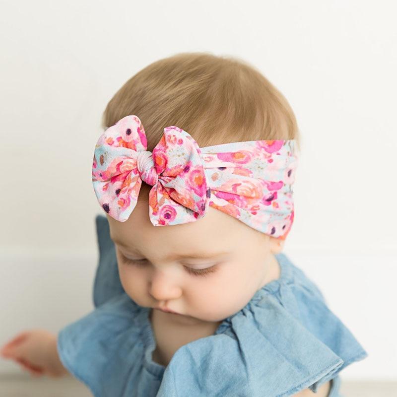 MIXIU Print Bow Baby Headband Kids Knotted Nylon Elastic Hair Band Baby Turban Handmade Infantile Haarband Baby Hair Accessories