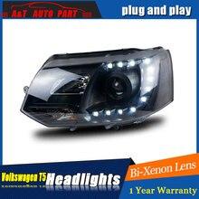 Lampe frontale de coiffure de voiture VW T5   Pour phares 2010-2016 pour Multivan T5, yeux dangle, drl H7 hid, lentille bi-xénon, feu de faible faisceau