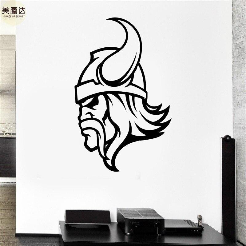 Calcomanía de pared vikingo Guerrero cuernos para cascos antiguo batalla hombre pegatinas de vinilo