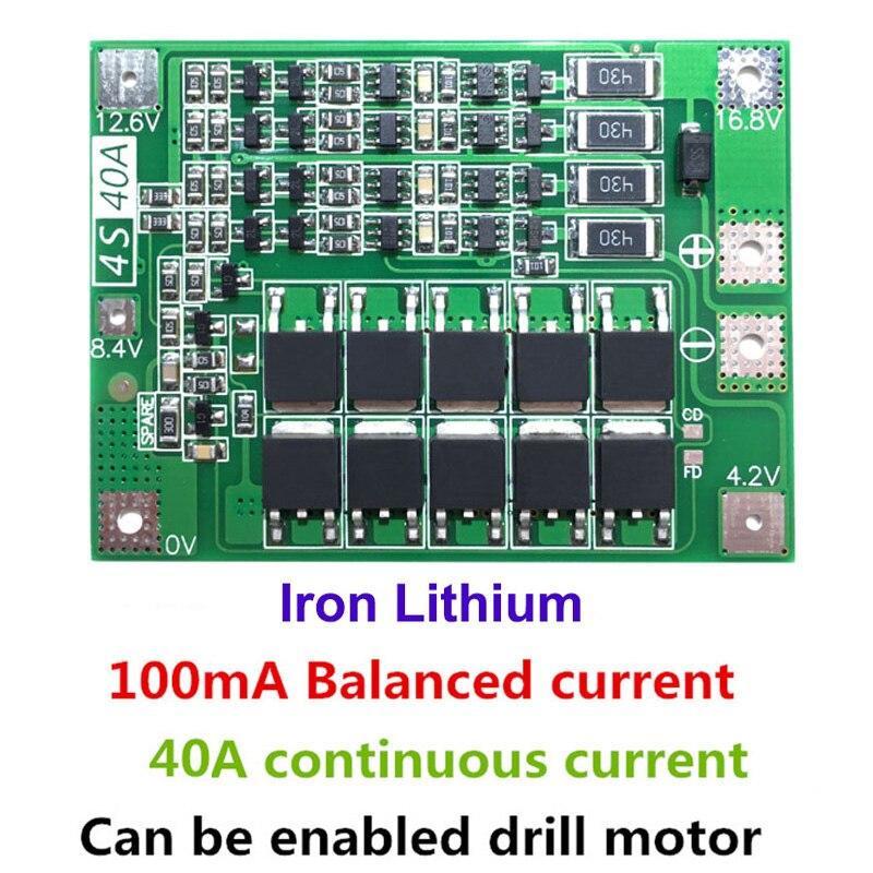 4S 40A железо литиевая батарея зарядное устройство Защитная плата 12,8 V 14,4 V Lipo модуль ячейки с балансом PCB BMS для электродрели