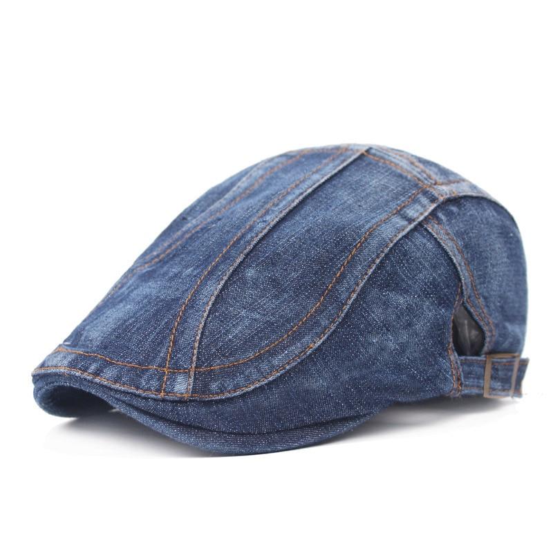 Крутые джинсовые береты унисекс, летний мужской берет, модная повседневная короткая шляпа с полями, женская джинсовая шляпа, походный берет...