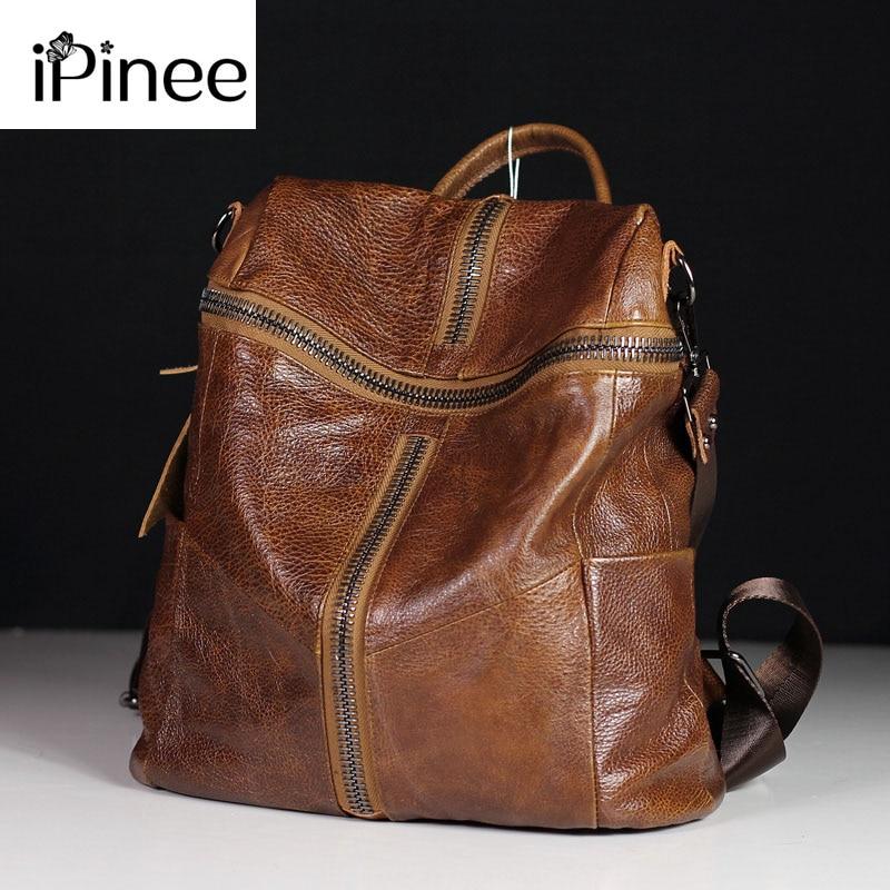 Mochila iPinee de piel auténtica para mujer, mochilas escolares de hombro para adolescentes, mochila de piel de vaca para viaje
