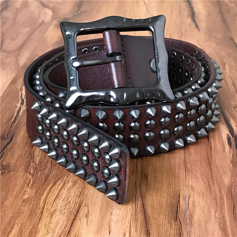 Ремень из натуральной кожи с заклепками в стиле панк, мужской ковбойский ремень в стиле рок-гвоздиков, пояс для мужчин, TBT0088