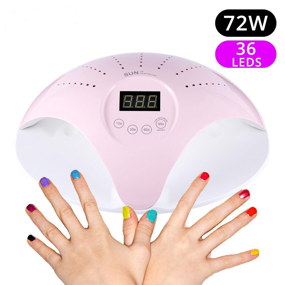 SUN 669 72W 36 lámpara UV LED secador de uñas Gel UV polaco lámpara para geles UV esmalte de uñas DIY uñas arte curado Gel manicura esmalte de uñas secador
