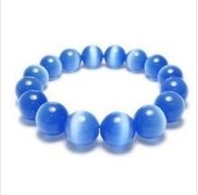 Nouveau moyen bleu foncé opale perles pour les yeux de chat Bracelet extensible pierres naturelles ligne élastique Bracelet hommes bijoux femmes Bracelet