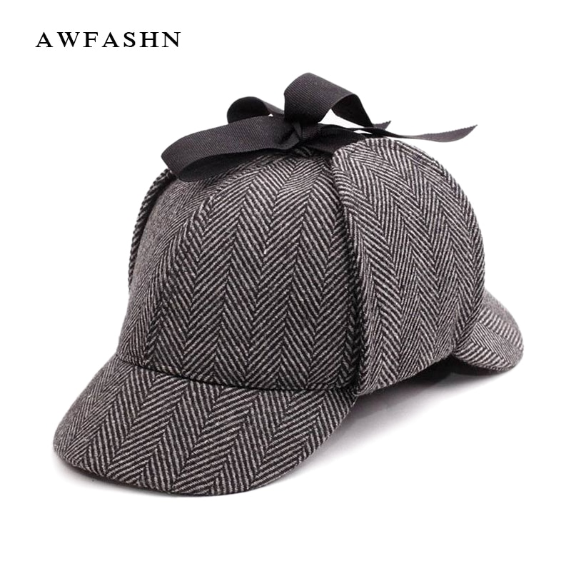 Casquette de Baseball pour hommes et femmes   Chapeau Holmes, chapeau Deerstalker Cosplay de haute qualité, bérets gris, os Vintage, nouvelle collection 2018