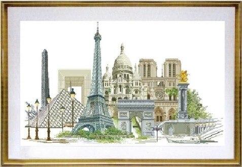 Kit de punto de cruz con cuentas de colección de oro, Serie de la ciudad famosa de París, Francia, tg 472