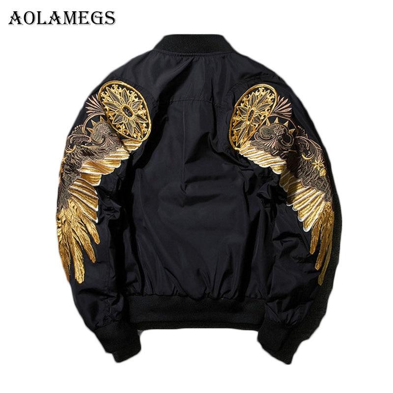 Aolamegs chaqueta de otoño hombre bordado oro alas de águila cuello chaqueta de moda de prendas de vestir de los hombres abrigo bomba nuevo