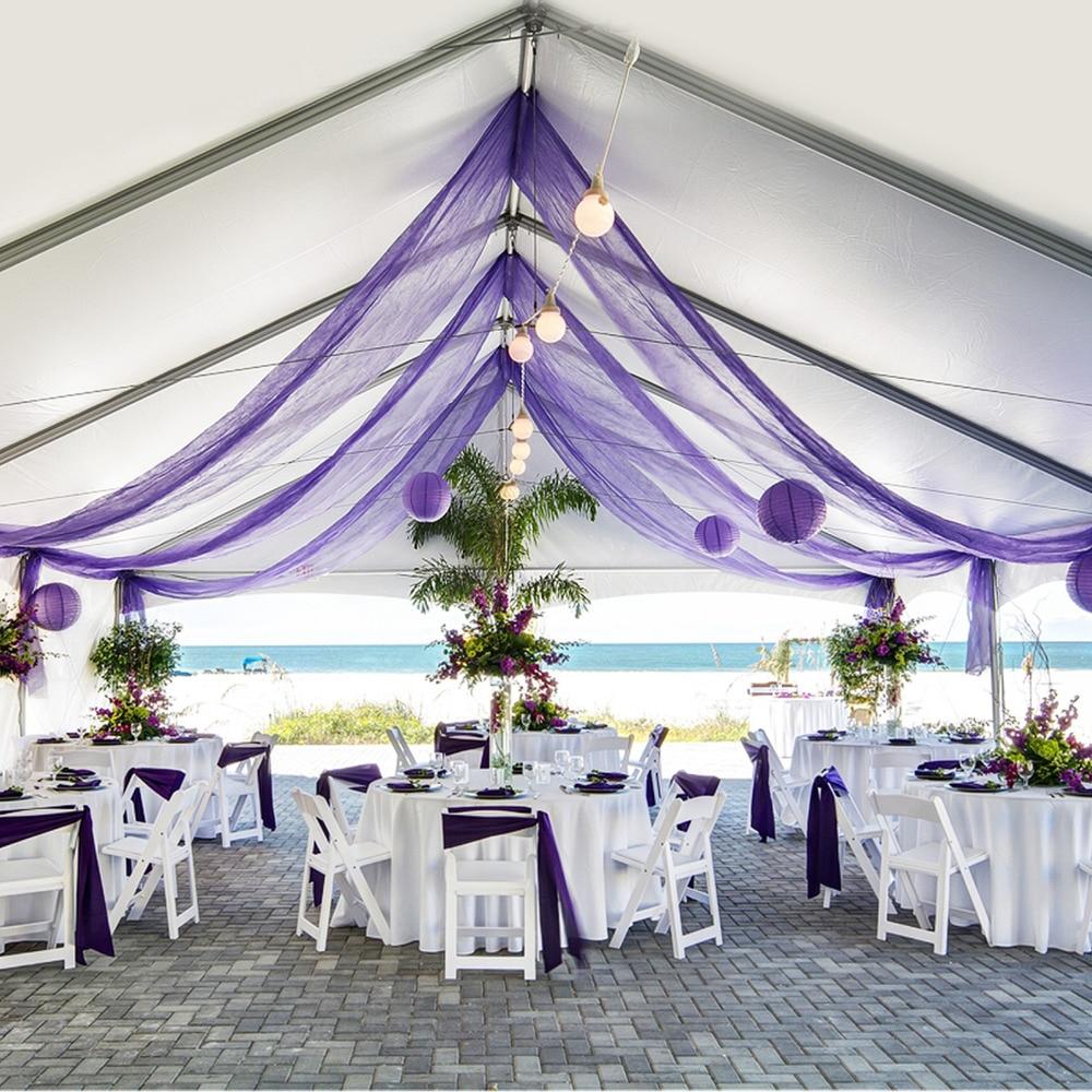 1000cm * 135cm organza pura Swag tela para evento Fiesta boda cumpleaños reunión decoración para escalera Mesa recepción arco casa coches