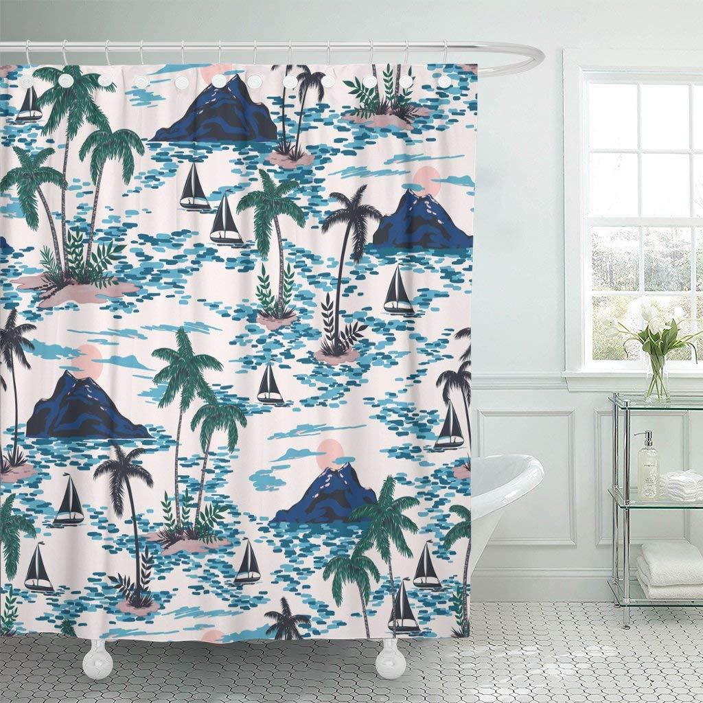 Cortinas de ducha impermeables Retro Hawaii con montaña Palma puesta de sol árboles barcos colorido brillante artístico Trópico Extra largo