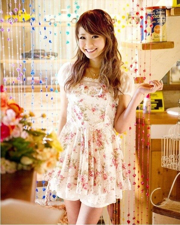 Liz Lisa, malla de encaje, Vestido de manga corta con estampado de flores selvedged