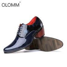 Haute qualité hommes robe chaussures de mariage en cuir verni brillant 6cm talons hauts mode bout pointu rehausser Oxford chaussures fête bal