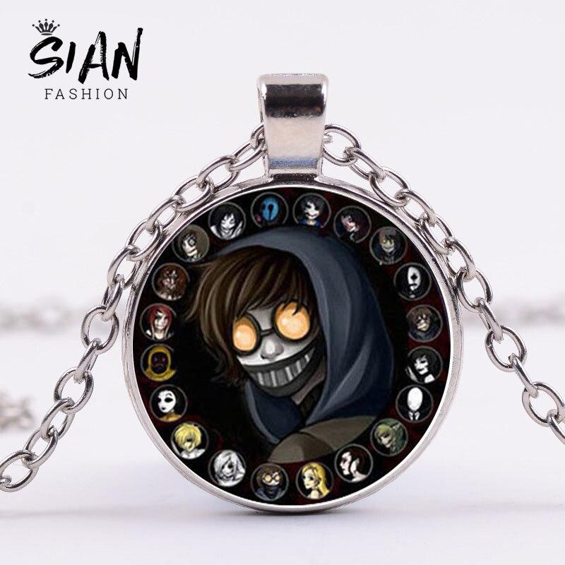 SIAN Anime Creepypasta collar Jeff el asesino Clocky ticci Toby vidrio impreso collar con colgante gótico joyería colección de fans
