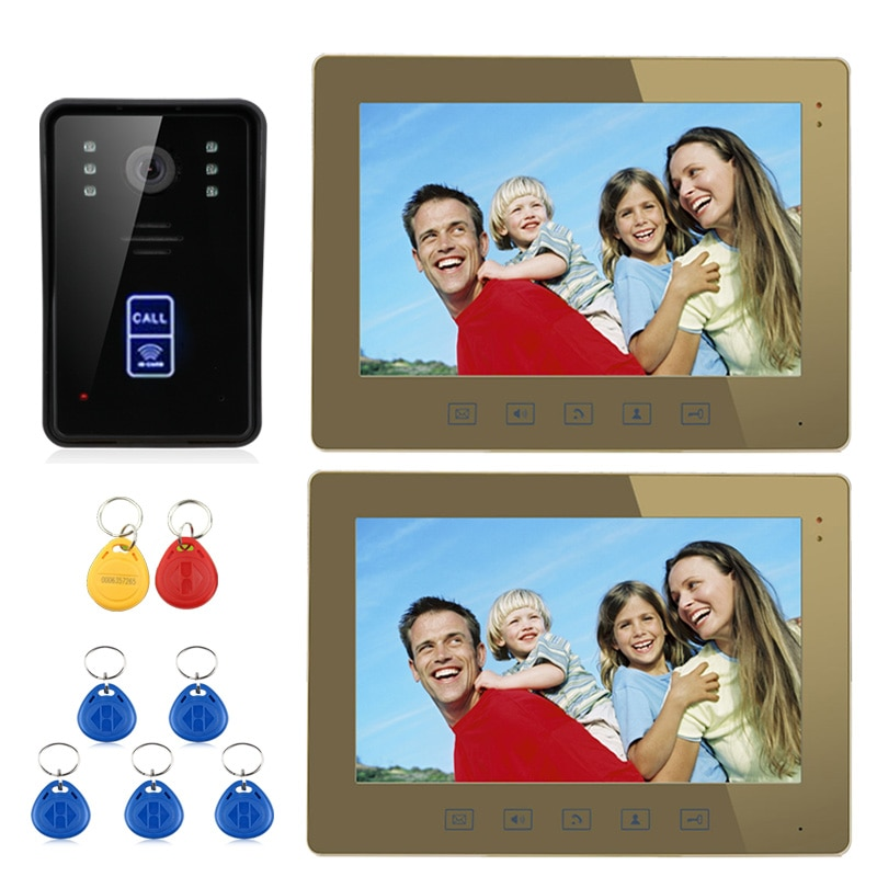 Videoportero de 10 pulgadas RFID, timbre de puerta, botón táctil, visión nocturna de desbloqueo remoto, 1 cámara + 2 Monitor