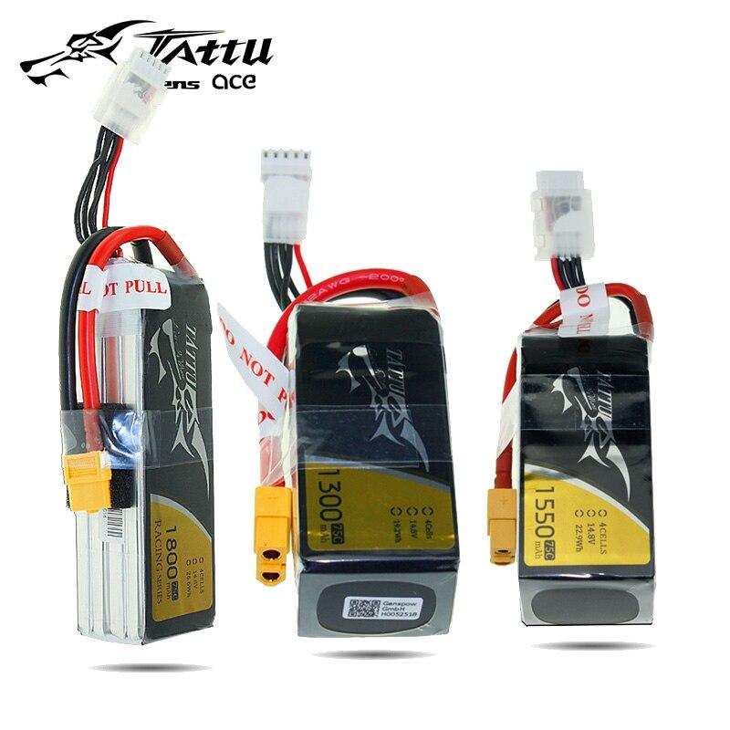 Литий-полимерный аккумулятор tattu 4S 1300 мАч 1550 мАч 1800 мАч 14,8 в 75C с вилкой XT60 для FPV гоночных батарей