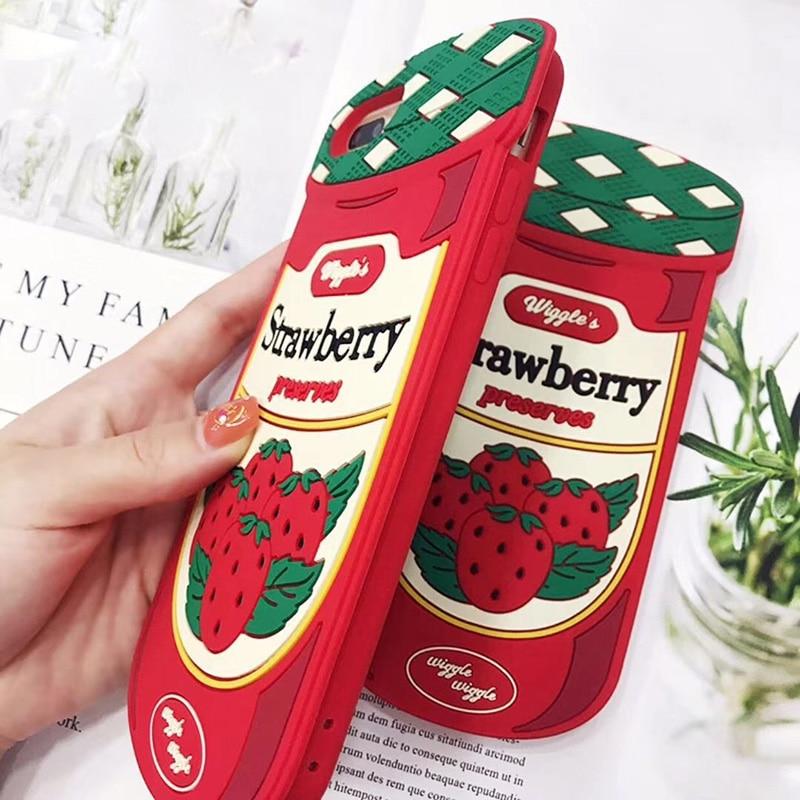 Encantadora Starwberry caso para iPhone 7 Plus de silicona suave amor botella de mermelada de Wigglee cubierta del teléfono para 8 6 6s Plus X 5 5s se XS Max XR