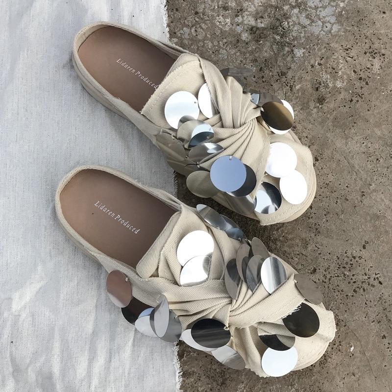 Koovan-شبشب نسائي من القماش الكتاني ، حذاء رياضي أبيض صغير مزين بالترتر ، حذاء رياضي أحمر ، ربيع 2021