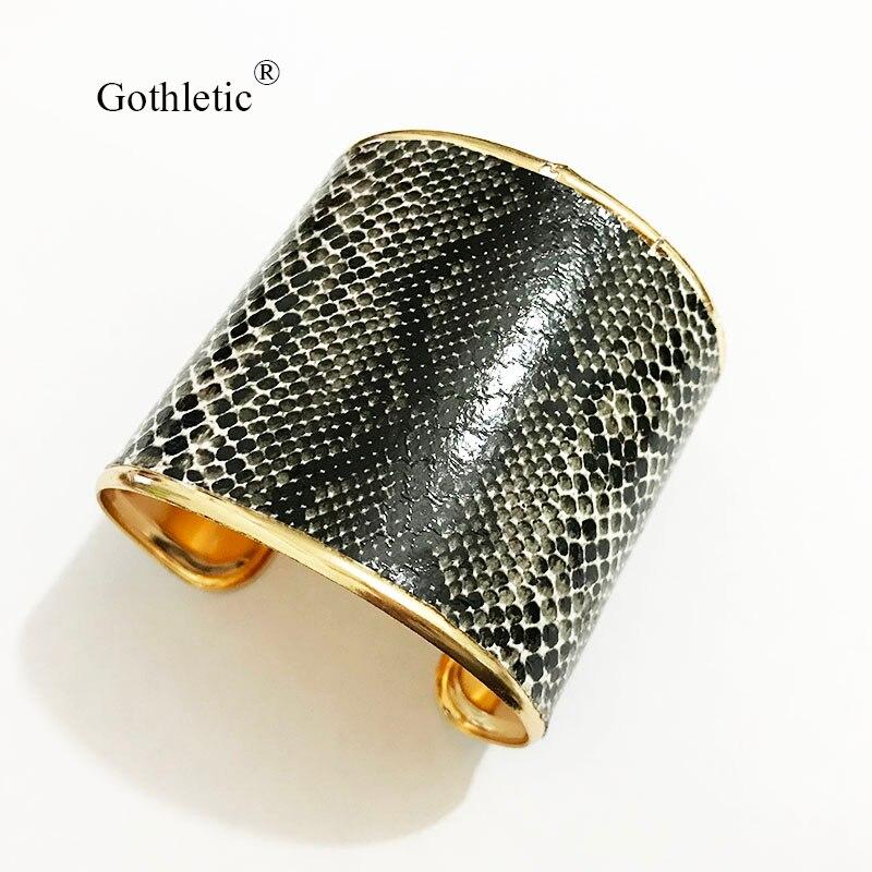 Gothletic serpiente PU brazalete grande ancho brazaletes de animal y brazaletes para las mujeres joyería de moda 2019 nuevo