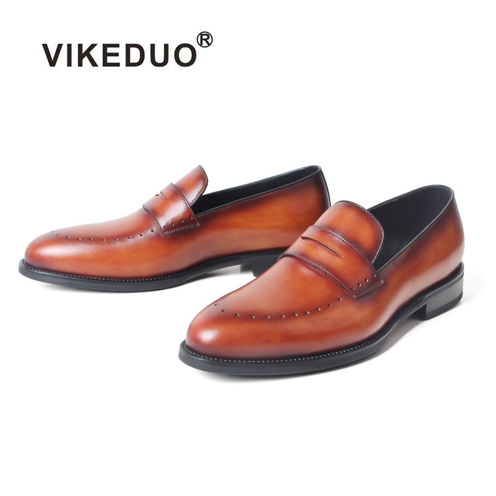 VIKEDUO-أحذية موكاسين جلدية للرجال ، أحذية صيفية ، كاجوال ، بدون أربطة ، للمكتب والزفاف