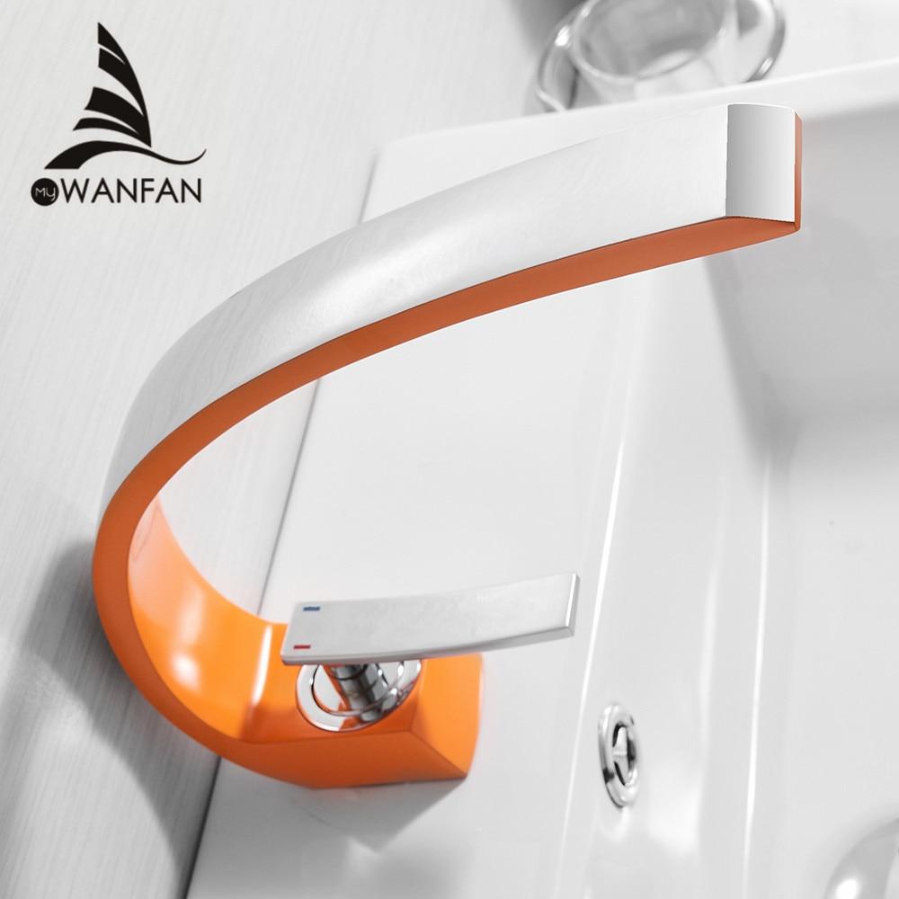 Смесители для умывальника, Современный Смеситель для ванной комнаты, латунный кран для умывальника, с одной ручкой, с одним отверстием, белы...