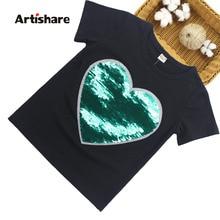 T-Shirt manches courtes pour filles   Motif à paillettes, pour jeunes filles de 6-8-10-12-13-14 ans