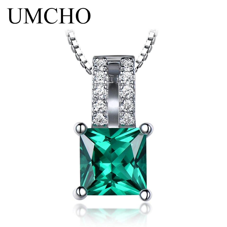 Элегантные Подвески UMCHO, подвески из твердого стерлингового серебра 925 пробы, ювелирные изделия, изумрудные подвески для свадьбы для женщин,...