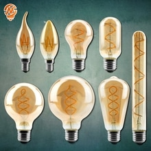 Retro Vintage Lamps 4W 2200K Spiral Light LED Filament Bulb A60 T45 ST64 G80 G95 G125 Decorative Lighting Dimmable Edison Lamp