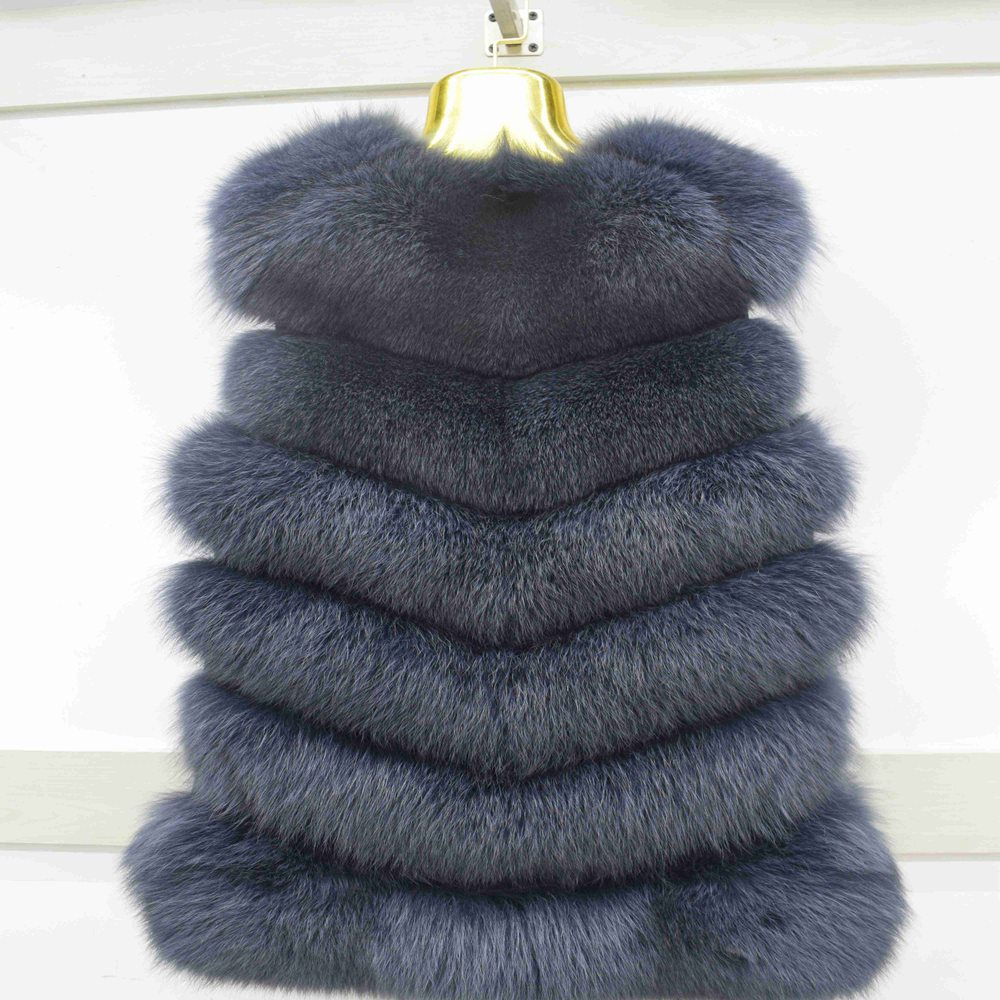 2018 Welfurlena 70cm Covered Thick Fox Fur Women Autumn Winter Warm Real Fox Fur Vest New Coat Natural Genuine Jacket S-3xl