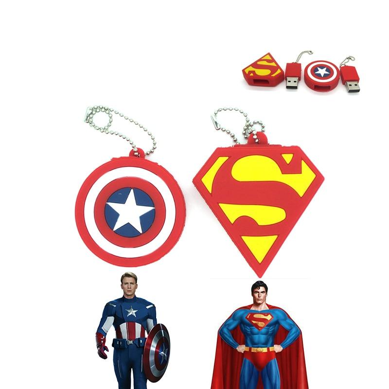 Nueva llegada PenDrive Super hero Superman unidad Flash USB Pen Drive 64G 8 GB 16G 32G 4G mini tarjeta de memoria Flash de alta velocidad de regalo caliente
