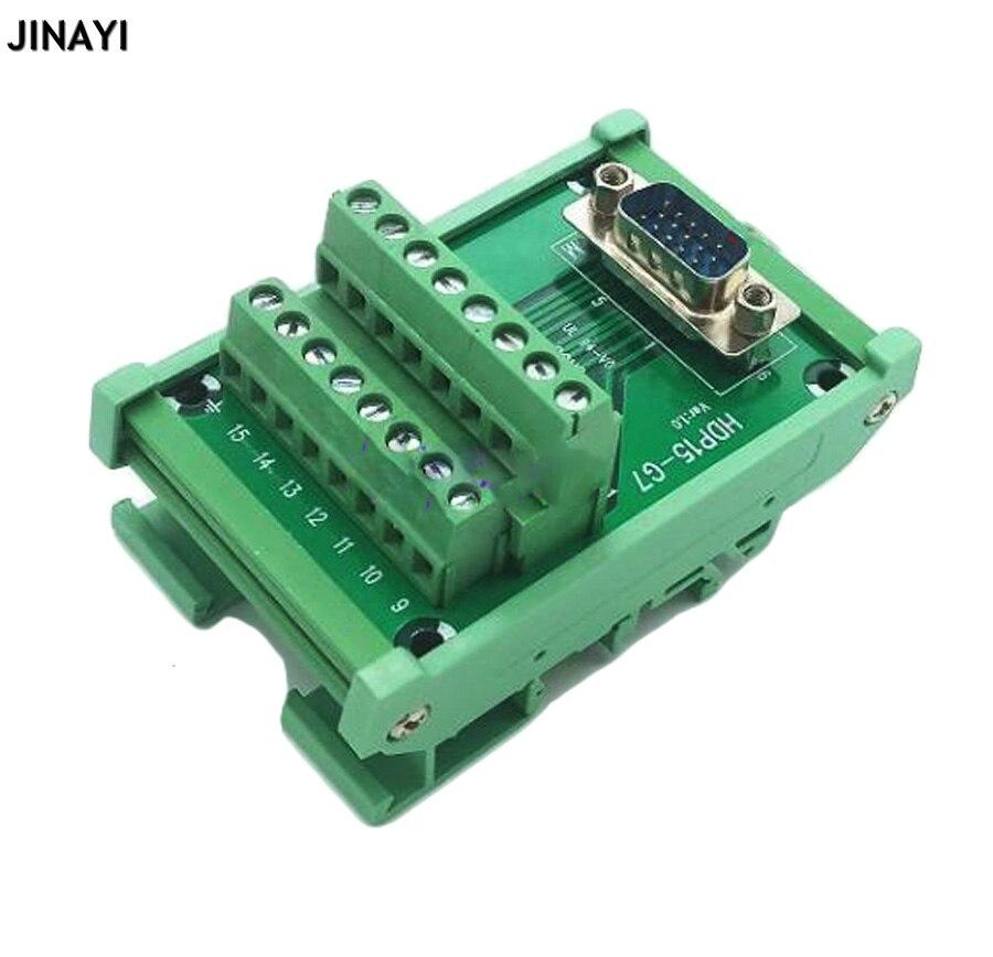 VGA DB15 15 pin 3 filas D-SUB macho hembra señales Terminal PCB Breakout DIN Rail adaptador conector