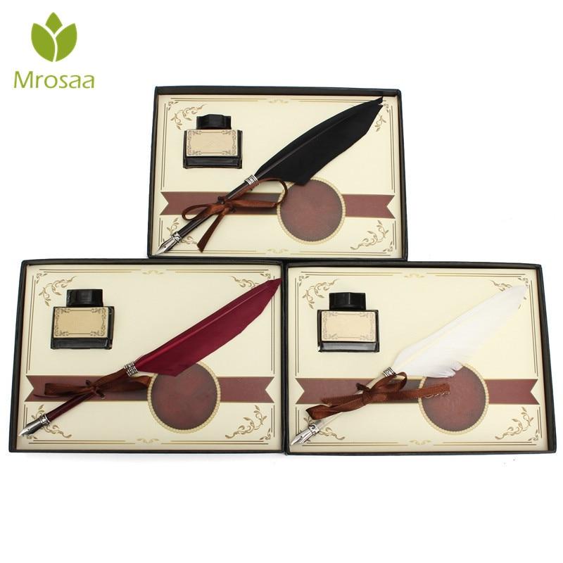 Mrosaa ретро перо лебедя перо Металл перо Dip набор чернил для письма с подарочной коробкой Канцтовары антикварная авторучка свадебные подарки