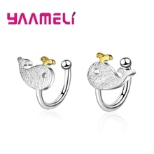 Top Quality New Design Animals Whale Ear Clip 925 Sterling Silver Jewelry For Women Birthday Anniver