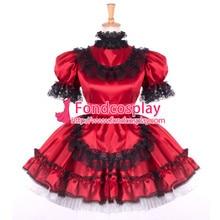 Sissy Maid Dress Lockable Red Satin French Maid Uniform Dress Cosplay Costume Custom-made[G797]
