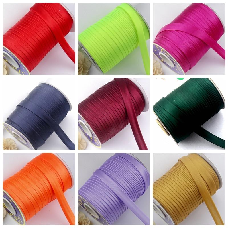 "5/8 ""(15mm) fita de viés de cetim fita de poliéster fita de viés cor sólida para diy vestuário costura e aparar fita de dobra"