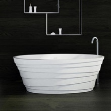 1800x850x600mm superficie sólida piedra bañera con certificación CUPC Corian Oval mate o brillante bañera de acabado RS6555