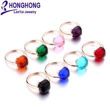 2020new 12mm brumeux terre rare verre naturel 8 couleurs anneaux grande pierre bague de mariage pour les femmes plaqué or rose bijoux de mode