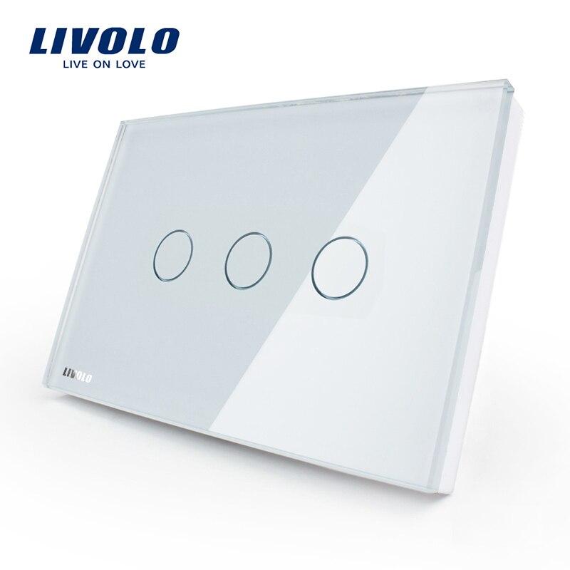 Interruptor de Control estándar de pantalla táctil de pared Livolo US, 3-gang 1 Way, CA 110 ~ 220 V, Panel de cristal blanco, VL-C303-81