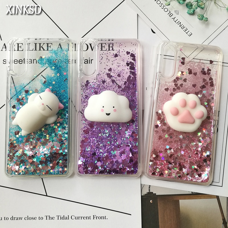 Cute 3D Squishy Cat Case For Huawei P30 P20 pro P8 P9 lite P10 Plus Liquid Glitter phone Case Mate 9 Y5 2017 Y6 II Y9 2018 Cover