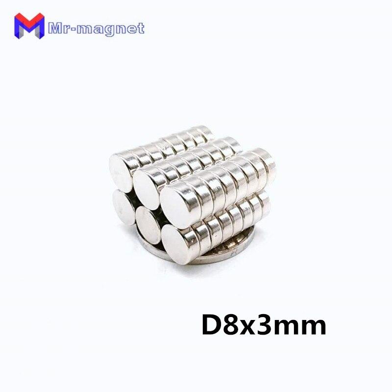 Imanes permanentes de neodimio 8x3mm de alta calidad 100 Uds. D8x3mm N35 con imán de niquelado 8mm x 3mm, 8*3mm imán 8x3