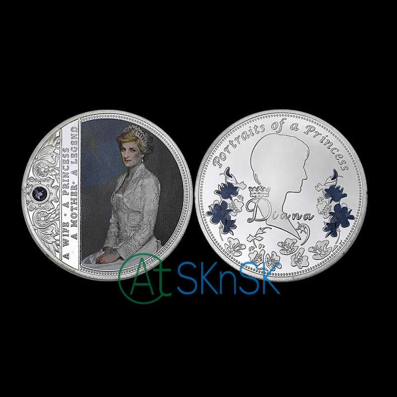 Wholesale newest custom England a portrait of princess silver plated medal Diana Spencer Princess commemorative coins for gift