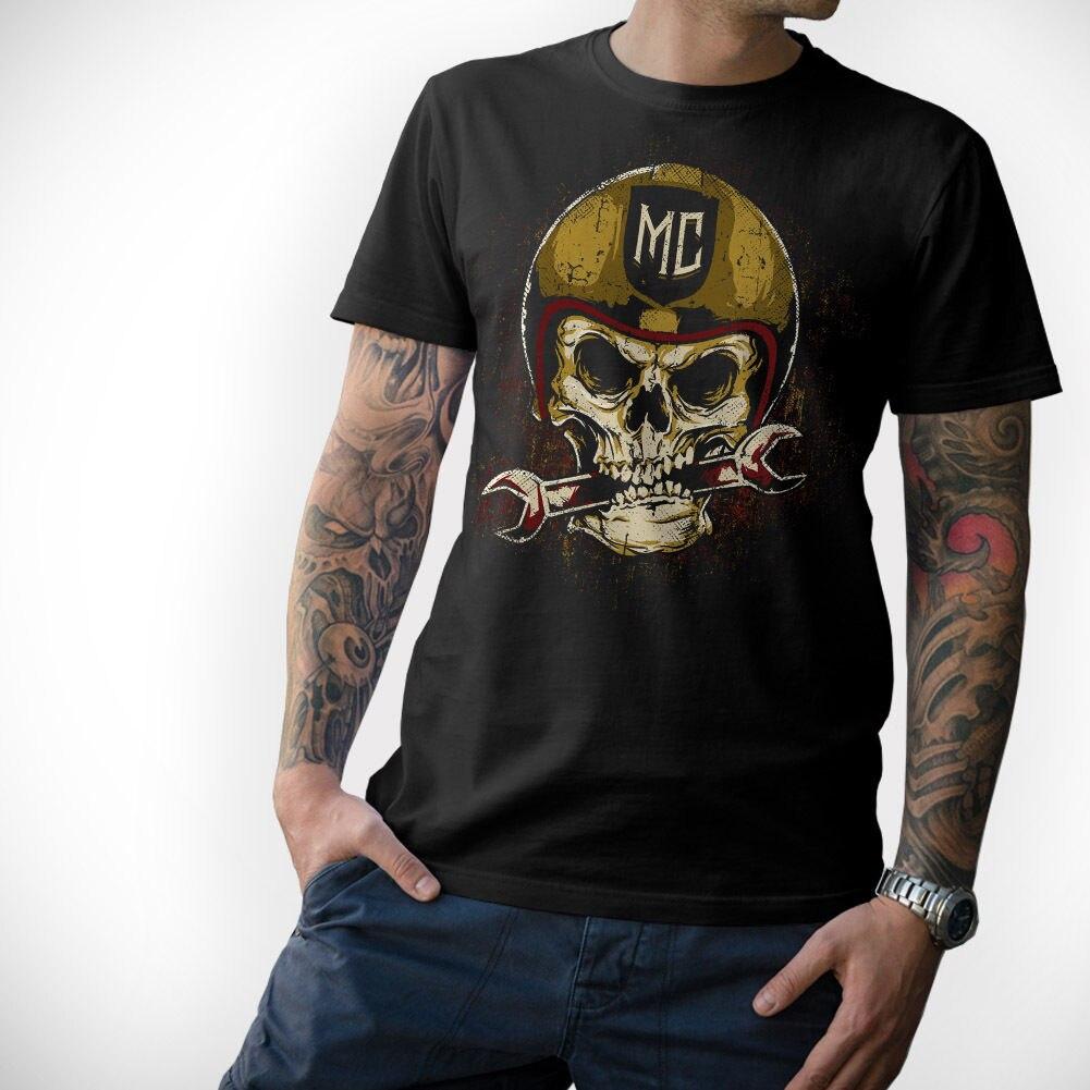 Moda legal casual t camisas motociclista t-camisa-caveira-motorrad motocicleta totenkopf mc s m l xl xxl 3xl 4xl 5xl camiseta verão
