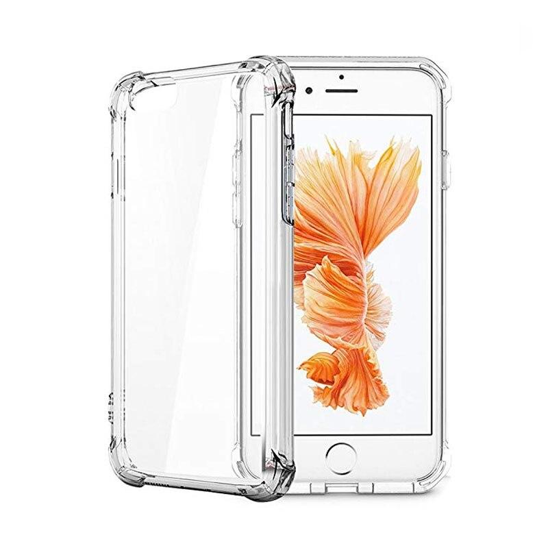 Funda de teléfono transparente de cristal duro claro PC Panel trasero + marco reforzado de TPU suave Compatible para iPhone 6 7 8 Plus X XR XS MAX