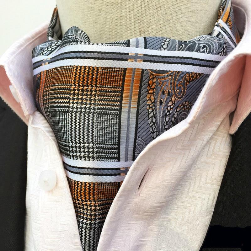 Fashion Mans Paisley Grid Cravat Ascot British Style Gentleman Silk Ascot Tie  Formal Dress Necktie Silk Neckerchief for Man ботинки front by ascot front by ascot fr009amcjuc5