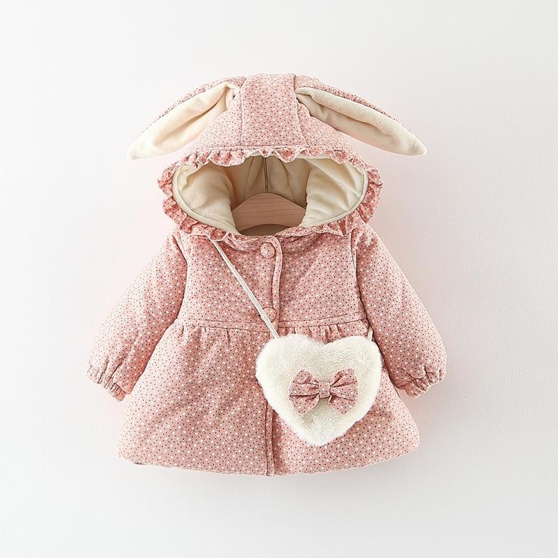 Crianças inverno quente do bebê meninas infantil crianças orelha de coelho com capuz engrossar veludo impresso flora parkas casaco outwear casaco + saco s7693