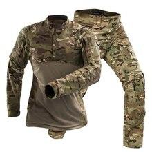 Nouveau matériel tactique Camouflage tactique militaire uniforme vêtements ensembles chemise de Combat + pantalon Cargo spécial Force costumes-E