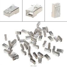 50/100Pcs Metal CAT5 RJ45 8-Pin Shielded Modular Plug Ethernet Network Cable Connectors Set High Quality