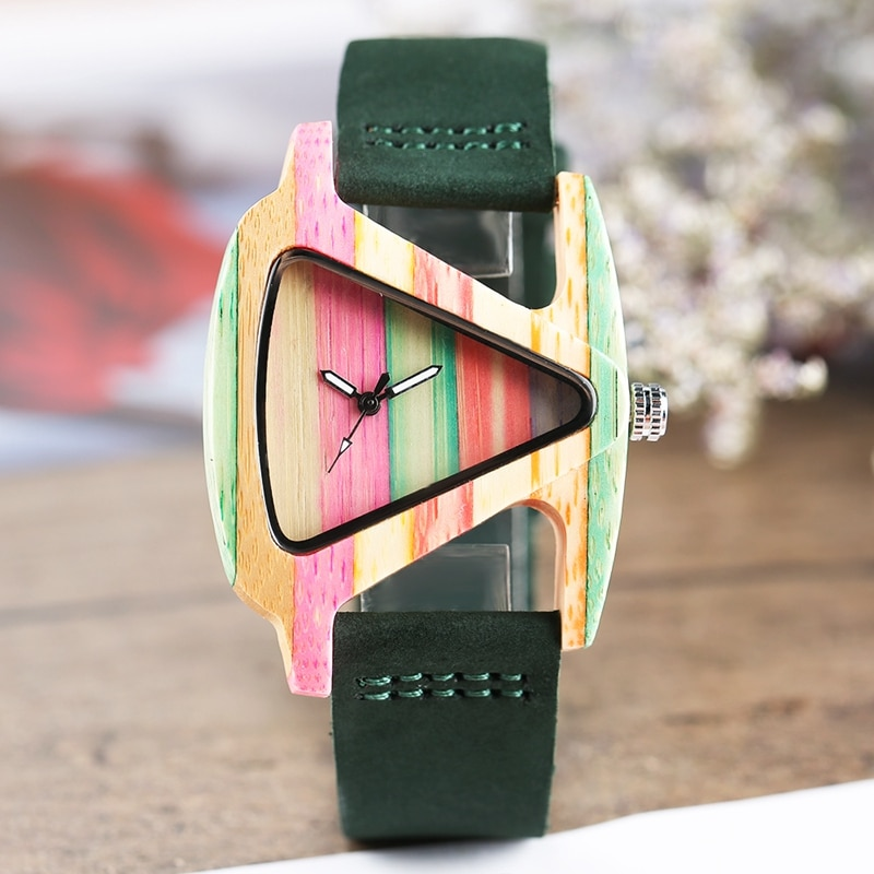 Lovely Women Wood Watch Cute Hit Color Rainbow Lines Bamboo Case Creative Triangle Dial Adorable Girls Casual Wooden Wristwatch enlarge