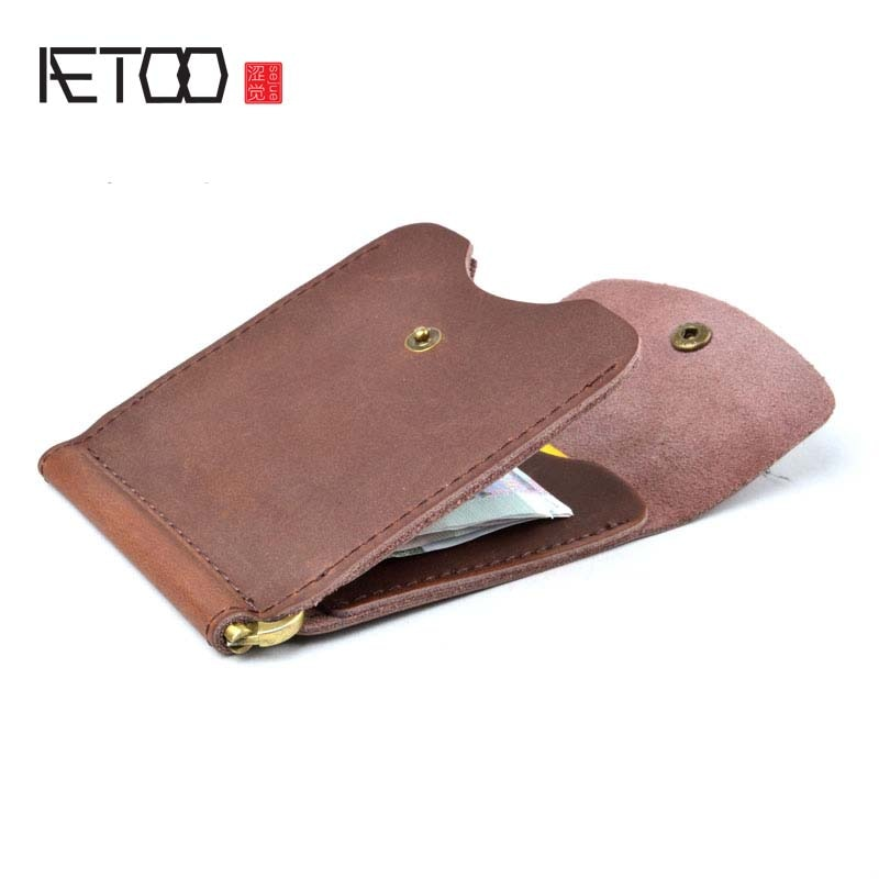 Кошелек AETOO для мужчин, мини-кошелек с зажимом для денег, винтажный стиль, кожаный кошелек с зажимом для карт