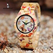 BOBO oiseau dames bois montre femmes montre femme bambou bande peinture papillon Quartz montres en bois boîte cadeau OEM W-O20