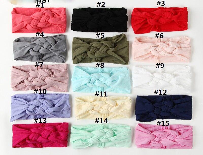 Bandeaux élastiques en Nylon pour enfants   24 pièces par lot, nouveaux bandeaux slim et doux, nœuds de marin, accessoires de cheveux pour enfants filles